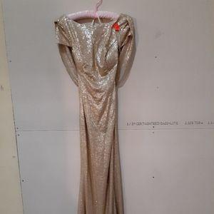 Badgley Mischka Gold Sequin Cap Sleeve gown
